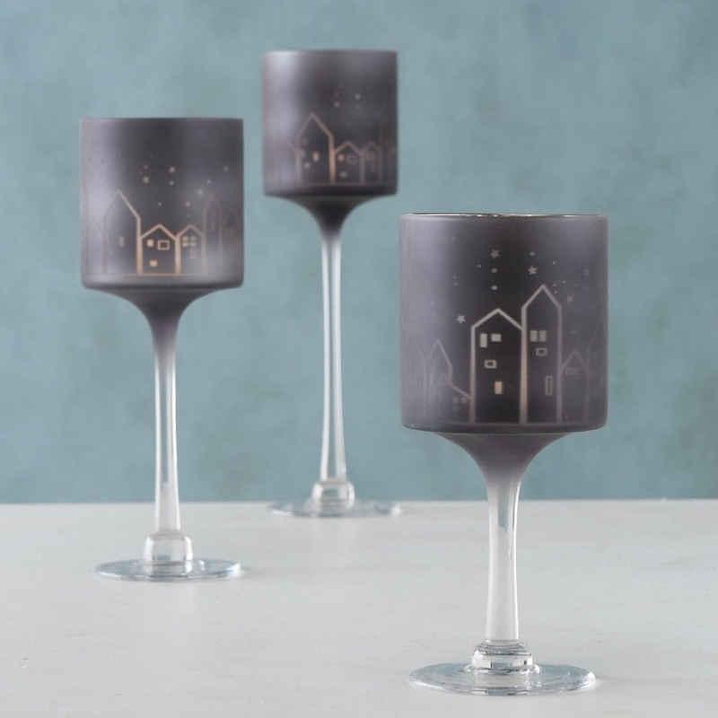 BOLTZE GRUPPE GmbH Windlicht »Windlicht Deko Glas lackiert schwarz Haus Motiv H 20-30 cm Ø 10 cm 3er Set« (Set, 1 Stück, 3 er Set), Oberfläche gelasert
