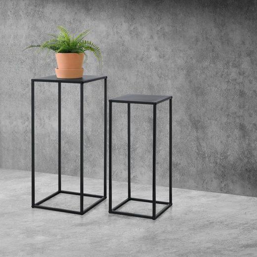 en.casa Konsolentisch, 2er Set Säulentische »Riziano« Metall