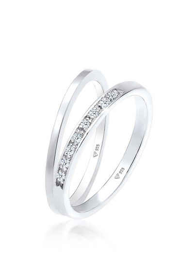 Elli Premium Diamantring »Basic Memoire Diamant Stapel Ring-Set 925 Silber«, Bandring