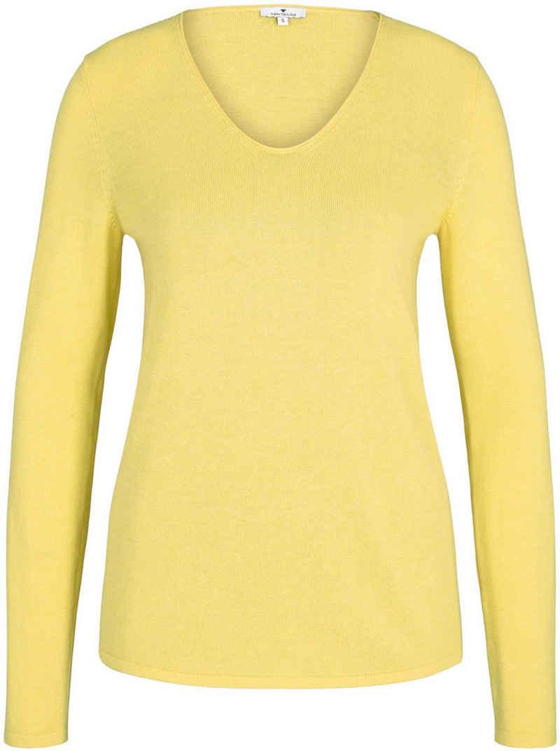 TOM TAILOR V-Ausschnitt-Pullover mit trendy V-Ausschnitt