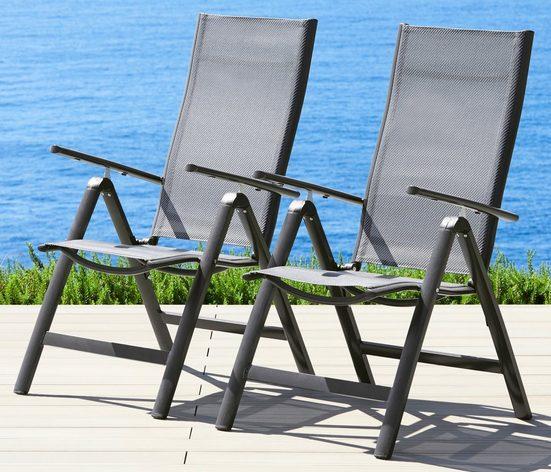 MERXX Gartenstuhl »Amalfi« 2er Set, Alu/beschichtetes Textil, verstellbar