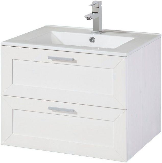Waschtische - welltime Waschtisch »Modern«, inkl. Keramikwaschbecken, aus Massivholz  - Onlineshop OTTO