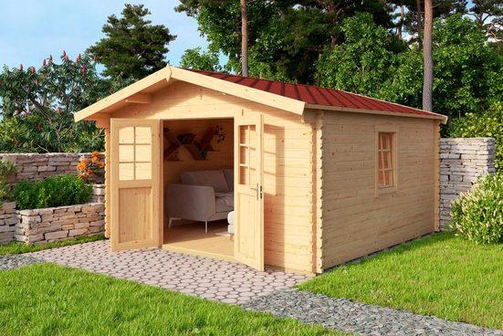 NORDIC HOLZ Set: Gartenhaus »Nienstedten 1«, BxT: 396x296 cm, inkl. Dachschindeln und Fußboden