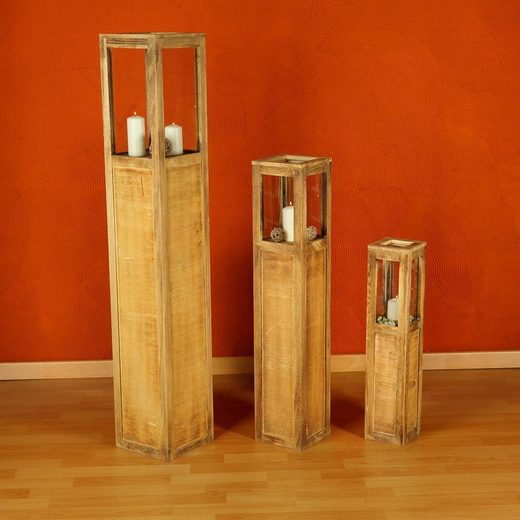 Mucola Windlicht »Windlichtset Holzlaterne Säulen Kerze«