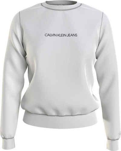 Calvin Klein Jeans Sweatshirt »Shrunken institutional crew neck« mit Calvin Klein Jeans Logo-Schriftzug