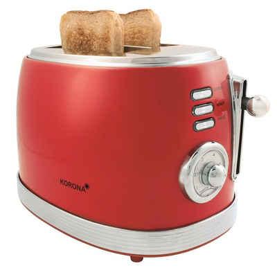 KORONA Toaster 21668, 850 Watt, für 2 Scheiben, analoge Röstgradanzeige 6 Bräunungsstufen Vintage Design, rot