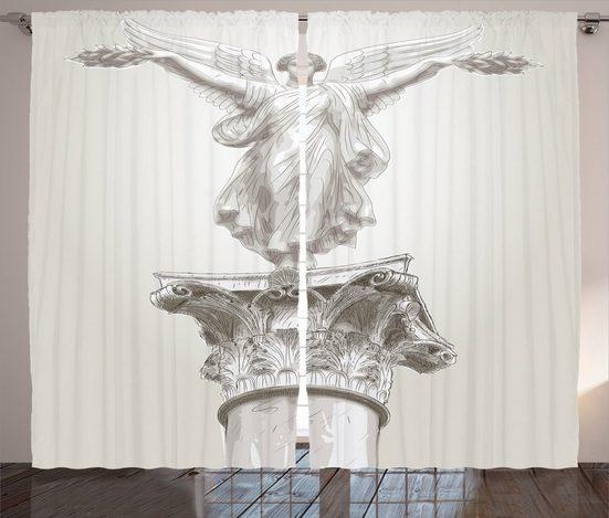Gardine »Schlafzimmer Kräuselband Vorhang mit Schlaufen und Haken«, Abakuhaus, Weiß Engel Greek Myth Muse