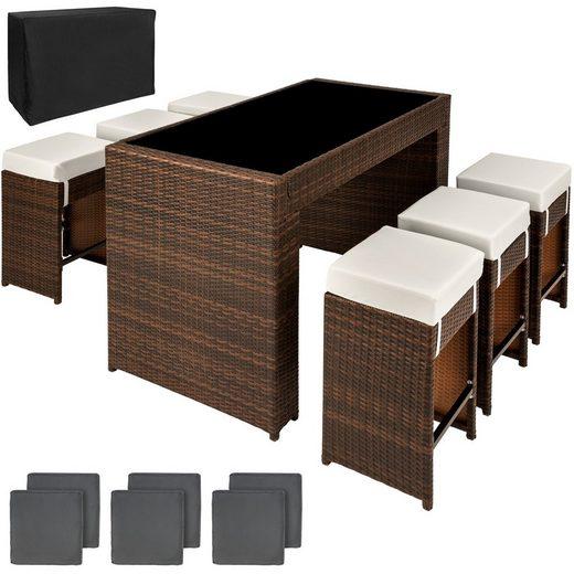 tectake Sitzgruppe »Aluminium Rattan Sitzgruppe Capri 6+1 mit«, (7-tlg)