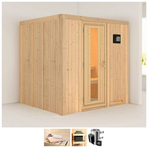 KARIBU Sauna »Daria«, 196x170x198 cm, 3,6 kW Plug & Play Ofen mit ext. Steuerung