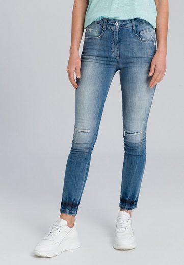 MARC AUREL 5-Pocket-Jeans in Blue Denim Optik mit Destroy