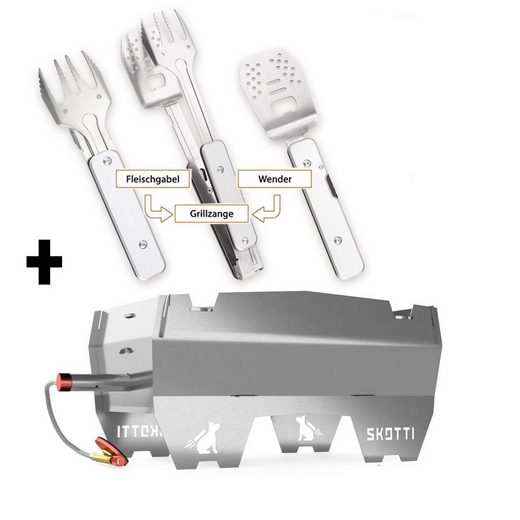 SKOTTI Gasgrill »SKOTTI + GENIUS POCKET Set - Premium Kompaktgrill + Edelstahl BBQ Klappbesteck 4-in-1«