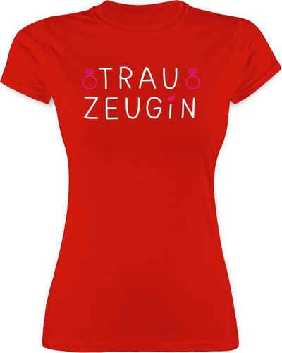 Shirtracer T-Shirt »Trauzeugin weiß mit Ringen - JGA Junggesellenabschied Frauen - Damen Premium T-Shirt« Junggesellinnenabschied Damen