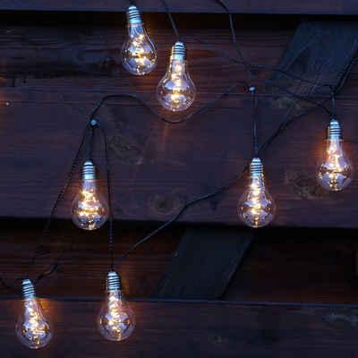 MARELIDA LED-Lichterkette »LED Solar Lichterkette Glow 10 transparente Glühbirnen warmweiß Lichtsensor«, 50-flammig