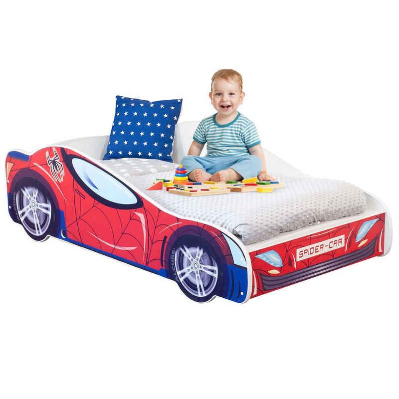 Alcube Rennwagenbett »SPIDER CAR«, Autobett 70x140 cm für kleine Rennfahrer im Spiderman Design mit Matratze, Lattenrost und Rausfallschutz, FSC-zertifiziert