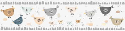 A.S. Création Bordüre »Chicken Party«, glatt, für Baby- und Kinderzimmer, selbstklebend, PVC-frei