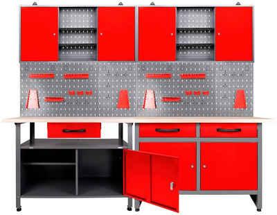ONDIS24 Werkstatt-Set, (Set), 2x Werkbank, 2x Werstattschrank, 2x Lochwand
