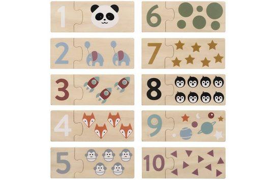 Kindsgut Lernspielzeug (Set, 10-St), Lernspiel Zahlen, Kinderspiel, Lernpuzzle, Nummern, Zahlen-Lern-Puzzle aus Holz für Babys und Kleinkinder, Tiermotive, Symbole, für zuhause und unterwegs, umweltfreundlich