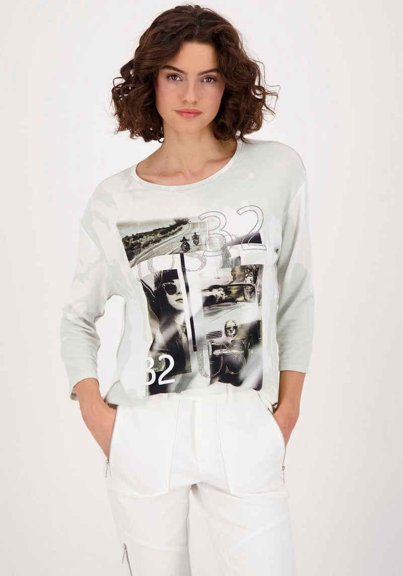 Monari 3/4-Arm-Shirt mit Fotodruck und Glitzerdetails