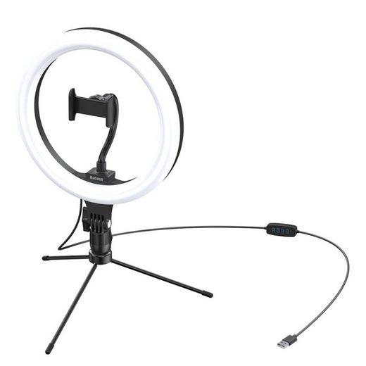 Baseus Ringlicht »Baseus 360° Fotolampe Ringblitz Ring Flash LED 10'' (YouTube, TikTok) + Mini-Stativ mit drei Lichteffekten schwarz«