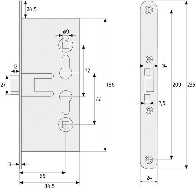 ABUS Einsteckschloss »EFS65«, Einsteckschloss für Feuerschutztüren