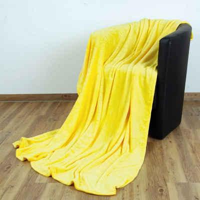 """Wohndecke, Bestlivings, Kuscheldecke """"Celina"""" - Gelb - 60x80 cm (BxL) - hochwertige Flauschige Kuschel Decke in vielen Farben und Größen"""