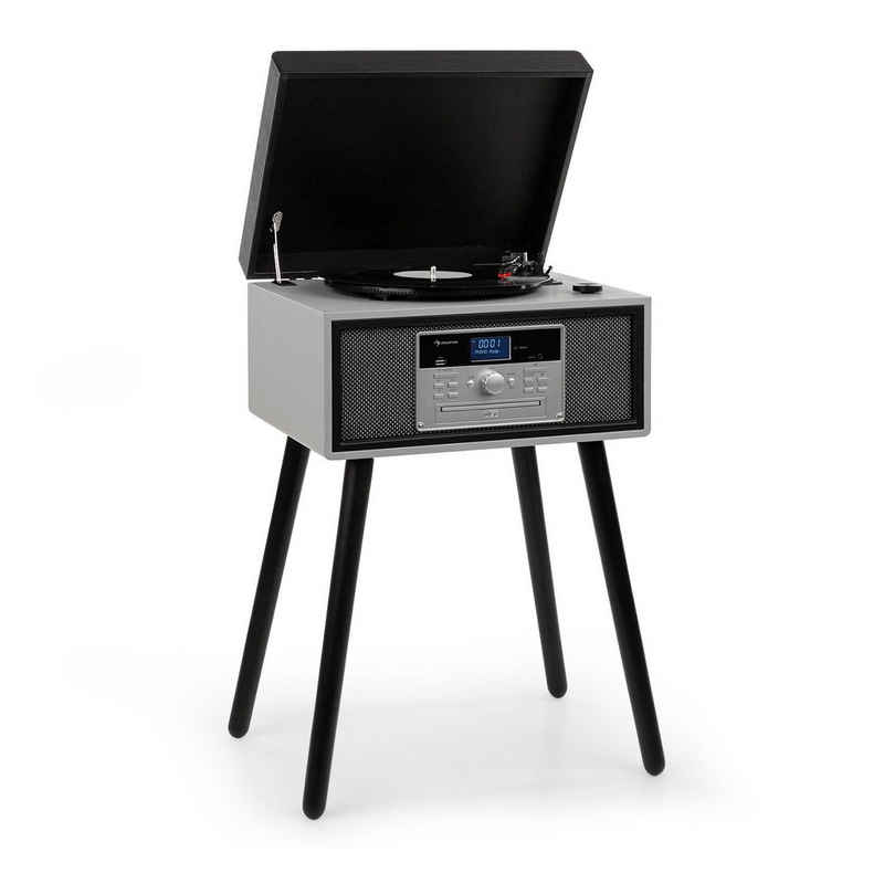 Auna »Mary Ann Plattenspieler 33/45/78 U/min CD DAB+ UKW BT USB schwarz/grau« Plattenspieler (Bluetooth)