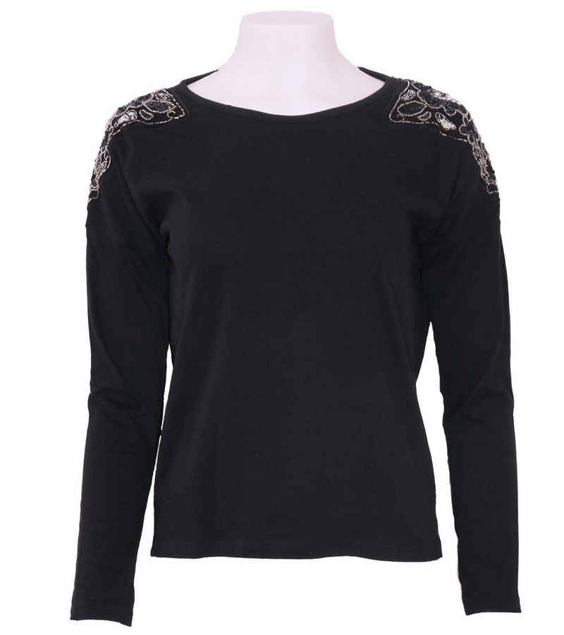 REVIEW Langarmshirt »REVIEW FOR TEENS Langarm-Shirt stylischer Pulli für Mädels mit funkelnden Schultern Rundhals-Pullover Schwarz«