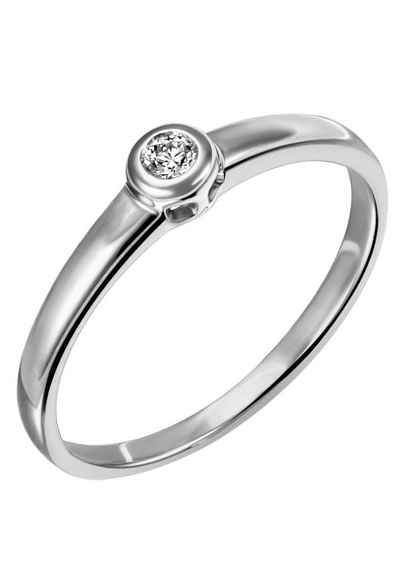 Firetti Diamantring »Verlobung, klassisch, Glanzoptik, rhodiniert, massiv«, mit Brillant