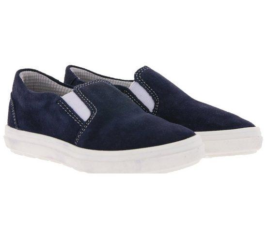 Richter »RICHTER Slipper gemütliche Kinder Echtleder-Schuhe Sommer-Schuhe im schlichten Look Blau« Slipper