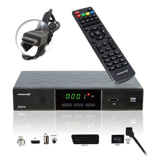 PremiumX »HD 520 FTA Digital SAT TV-Receiver DVB-S2 FullHD HDTV Satelliten-Receiver HDMI SCART 2x USB Multimedia-Player, Deutsche Sender vorprogrammiert« SAT-Receiver