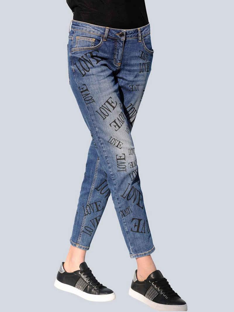 Alba Moda 7/8-Jeans mit Schriftzüge-Print allover