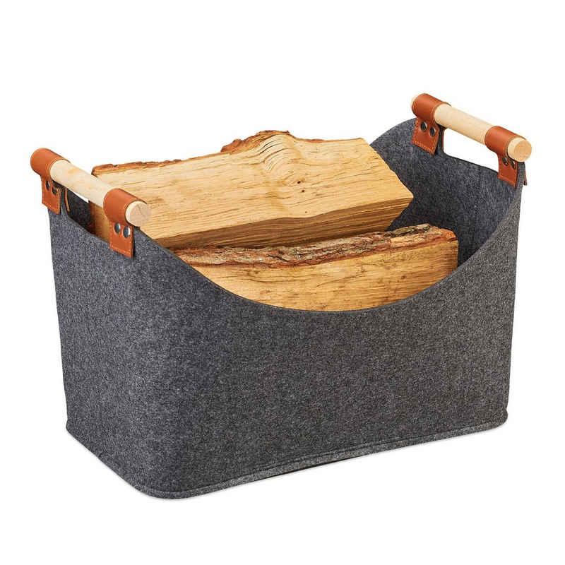relaxdays Aufbewahrungskorb »Filztasche mit Holzgriffen«