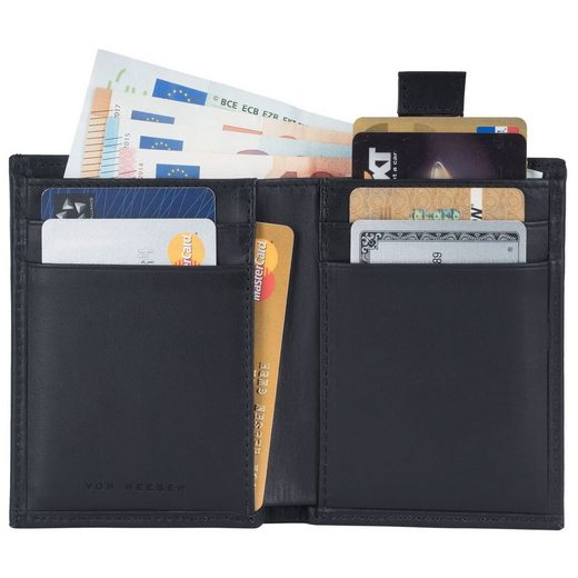 VON HEESEN Mini Geldbörse »Slim Wallet mit 15 Kartenfächern (schwarz)«