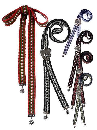 Moschen-Bayern Krawatte »Trachtenband Trachtenbinder Trachtenkrawatte Krawatte Schieber Herren mit Grandl Schwarz + Blau + Rot« Metallschieber 100% Messing