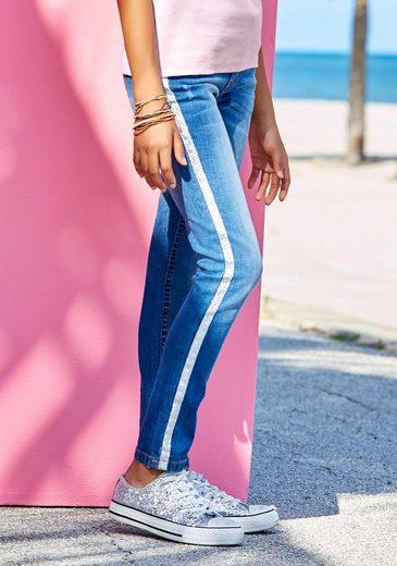Buffalo Stretch-Jeans mit aufgesetztem Glitzerband