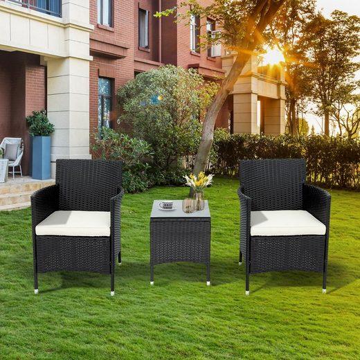 Masbekte Loungeset, (3er-Set), Gartenmöbel set 2 Personen–1 Tisch, 2 Sessel, 5cm Sitzpolster, Wetterfeste für Garten, Balkon & Terrasse, Polyrattan