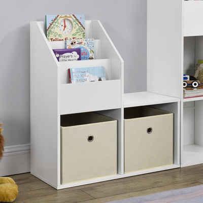 en.casa Regal, »Bendorf« Kinderregal Bücherregal Spielzeugablage Regal mit 2 offenen Fächern und Ablagefläche 79 x 72 x 31 cm Weiß