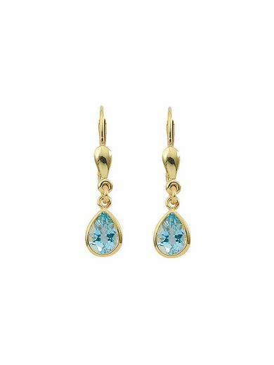 Adelia´s Paar Ohrhänger »585 Gold Ohrringe / Ohrhänger mit Aquamarin«, Goldschmuck für Damen