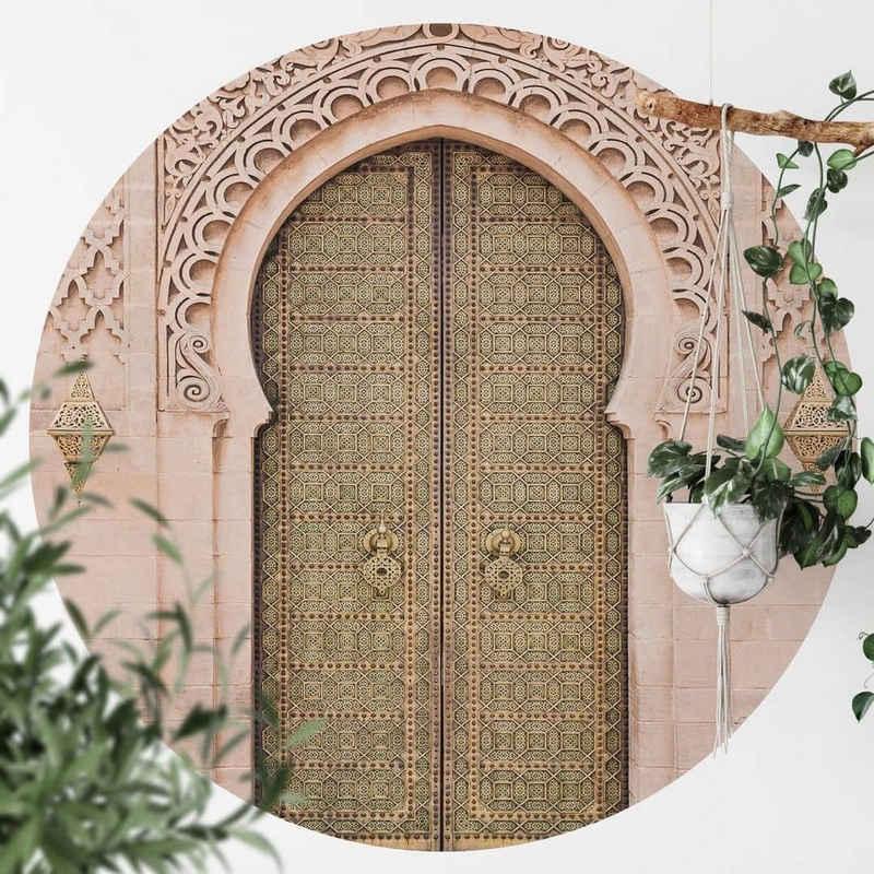 K&L Wall Art Fototapete »Runde Fototapete Sisi&Seb Orientalische Holztür Vliestapete Küche Wandbild«, Moroccan
