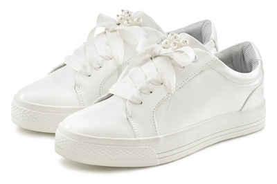LASCANA Sneaker mit Plateau und Perlen in Kroko-Optik