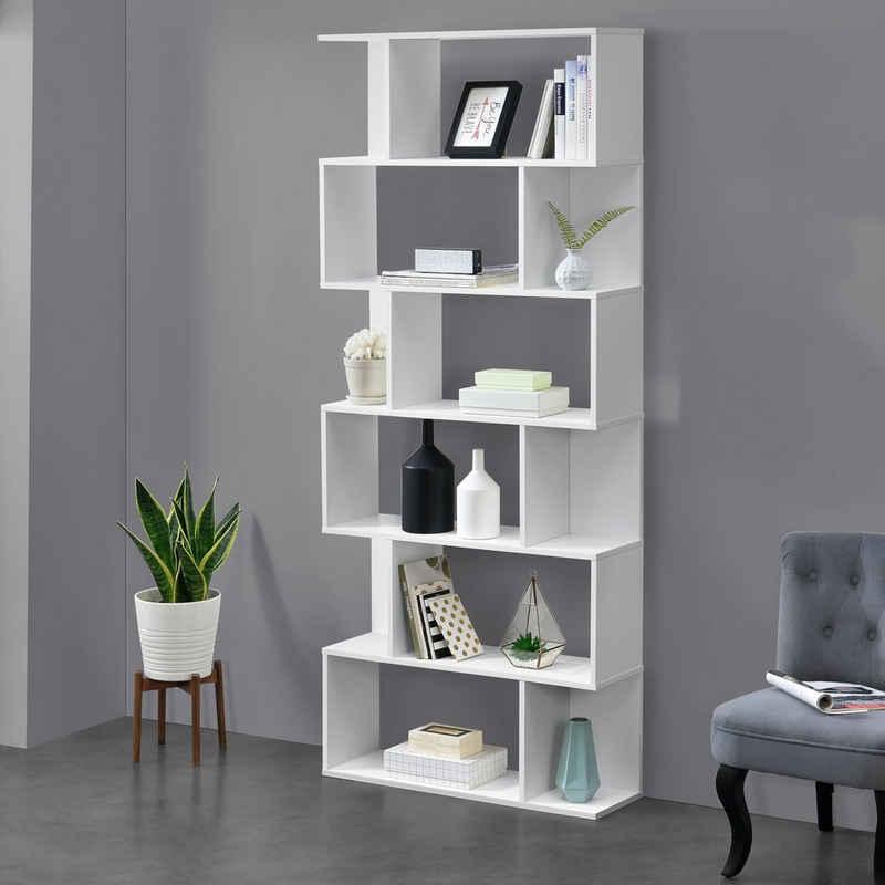 en.casa Bücherregal, »Oxford« Design Hängeregal mit 6 Ablagen Raumteiler 192x80x24cm weiß