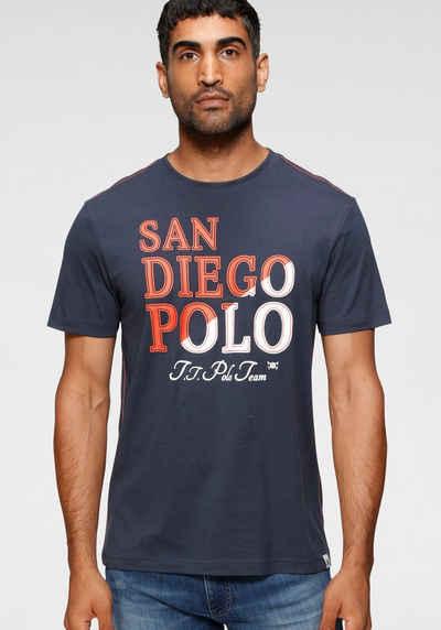 TOM TAILOR Polo Team Rundhalsshirt mit farbigem Logo-Front-Print