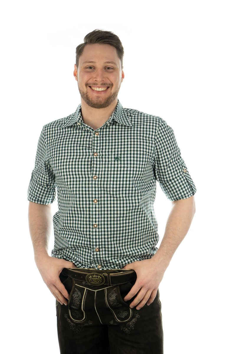 OS-Trachten Trachtenhemd »Herren Hemd grün kariert, Trachtenhemd, Jägerhemd, regular fit,«