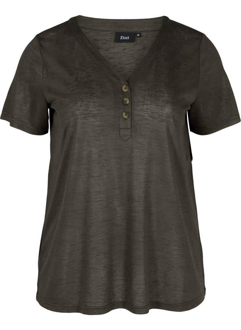 Zizzi T-Shirt Große Größen Damen Kurzarm T-Shirt mit V Ausschnitt und Knöpfen