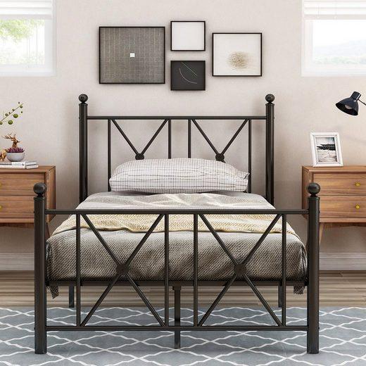 Masbekte Metallbett »Einzelbett«, Jugendbett, Hochwertiger Metallbettrahmen mit Kopf- und Fußteil (90*200cm)