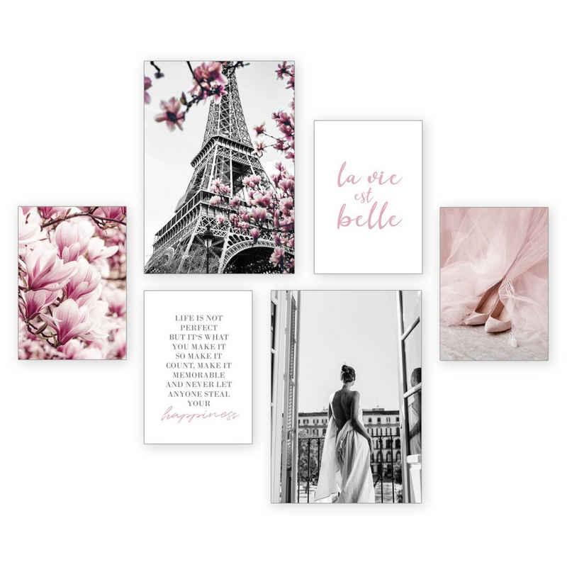 Kreative Feder Poster »Paris«, Paris (Set, 6 Stück), 6-teiliges Poster-Set, Kunstdruck, Wandbild, Posterwand, Bilderwand, optional mit Rahmen, WP518