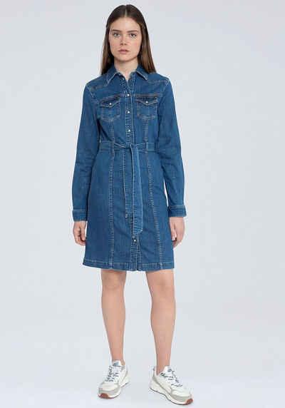 Pepe Jeans Jeanskleid »JULIE BLUE« mit vielen tollen Details und Gürtel zum Binden