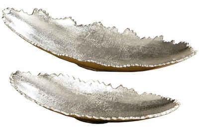 Meinposten Dekoschale »Schale oval silber Metall massiv Deko Tischdeko 32 oder 42 cm«