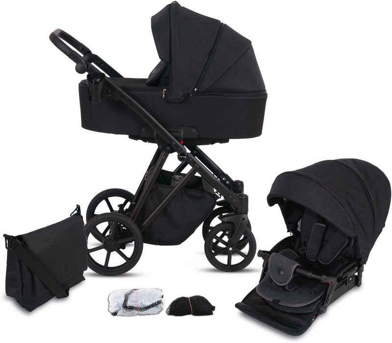 Knorrbaby Kombi-Kinderwagen »Luzon Black Edition, Schwarz«, (11-tlg), Gestell faltbar; Made in Europe; Kinderwagen