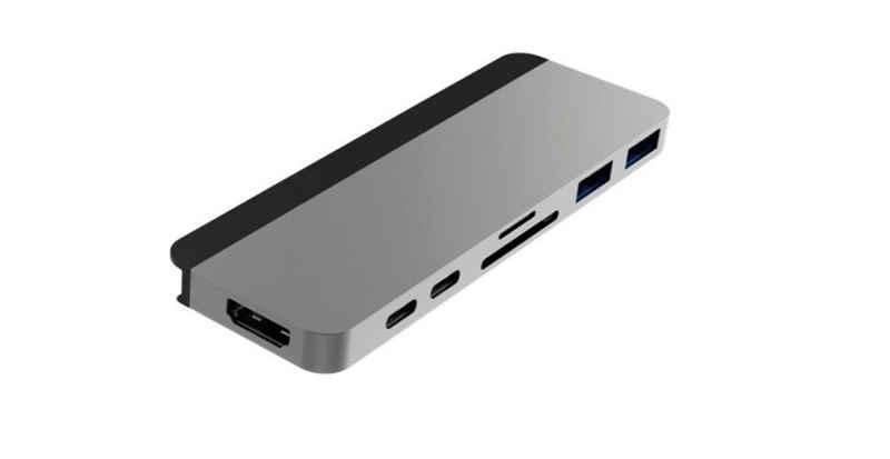 HYPER by Sanho »HyperDrive« Laptop-Adapter USB-C zu HDMI, USB-C, USB 3.0 Typ A, Micro-SD / Micro SDHC / Micrso SDXC, SD / SDHC / SDXC, [7-in-2 USB-C Hub für MacBook Pro (2016 - 2020), Plug & Play, Abnehmbarer Magnetstreifen für andere USB-C Geräte] - silber